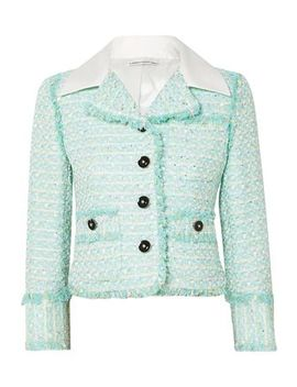 Twill Trimmed Embellished Tweed Jacket by Alessandra Rich