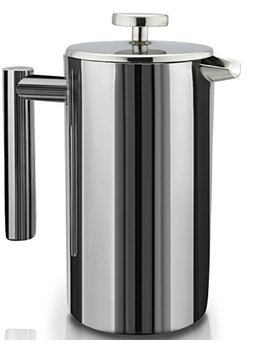 french-press-double-wall-stainless-steel-mirror-finish-(1l)-coffee_tea-maker:-double-screen-system-100-percents-no-coffee-grounds-guarantee,-18_10-stainless-steel,-rust-free,-dishwasher-safe,-2-bonus-screen by sterlingpro