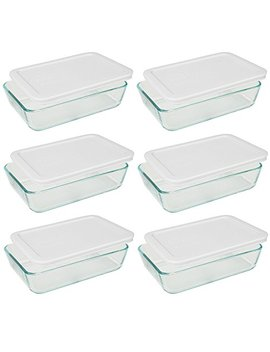 pyrex-3-cup-rectangle-glass-food-storage-sets-(3-cup-containers-(pack-of-6),-white-lid) by pyrex