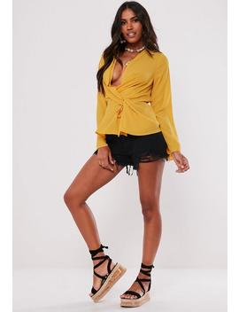 Yellow Wrap Tie Knot Blouse by Missguided