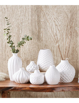 Artisan Carvings Set Of 7 Bud Vases In White by Two's Company