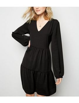 Tall Black Puff Sleeve Tiered Smock Dress by New Look