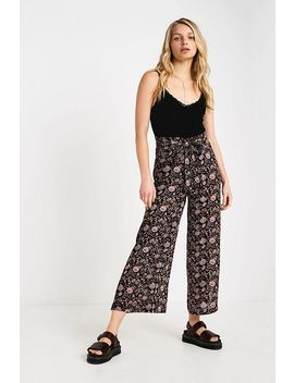 Uo Black Floral Wrap Trousers by Urban Outfitters