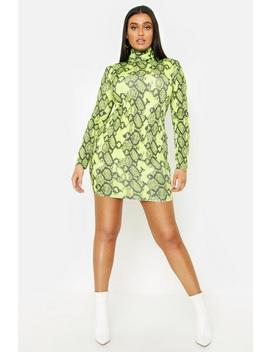 Plus Neon Snake Roll Neck Rib Mini Dress by Boohoo