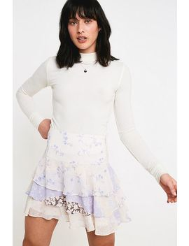 Uo Evelyn Tiered Floral Print Ruffle Mini Skirt by Urban Outfitters