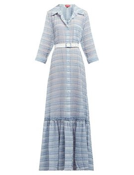 Rose Belted Checked Seersucker Maxi Dress by Staud