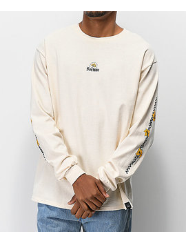 Fortune Checkered Lily Cream Long Sleeve T Shirt by Fortune Ny