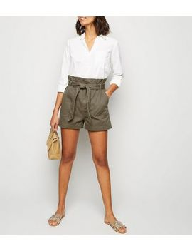 Khaki Paperbag Waist Belted Utility Shorts by New Look
