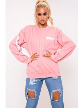 Blush Long Beach Sleeve Slogan Print Sweatshirt by I Saw It First
