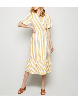 Off White Stripe Tiered Wrap Tie Dress by New Look