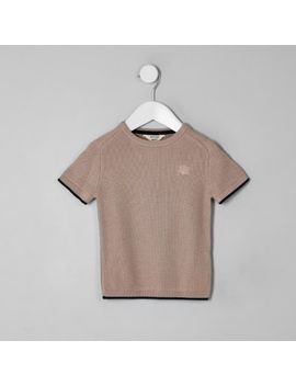 Mini Boys Pink Knitted T Shirt by River Island