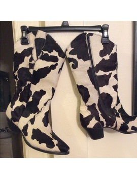 Cow Print Pony Hair Zip Cowboy Boots by Poshmark