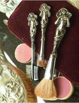 Victorian Trading Co. Vanity Essential Silver Cosmetic Brushes (Set Of 3) Nib by Ebay Seller