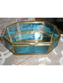 Vintage Glass Display Case For Jewelry Rosary Rings Trinkets Blue Glass Sides by Ebay Seller