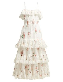 Heathers Floral Print Tiered Cotton Midi Dress by Zimmermann