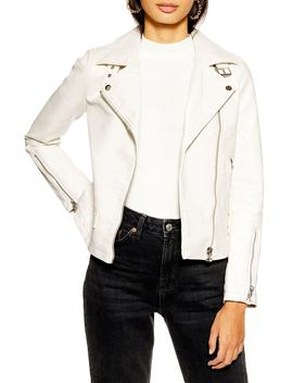 Lucky Faux Leather Biker Jacket by Topshop