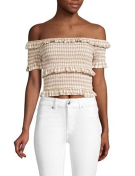 Smocked Off The Shoulder Gingham Crop Top by Moon River