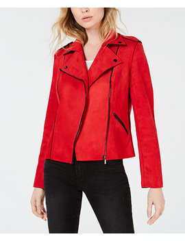Haddie Faux Suede Moto Jacket by Kut From The Kloth