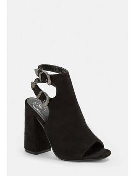 Black Sling Back Heeled Sandals by Missguided