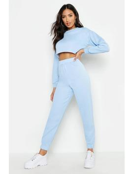 Crew Neck Raw Hem And Cuff Jogger Tracksuit by Boohoo