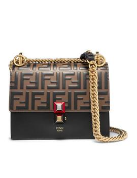 Kan I Small Logo Embossed Leather Shoulder Bag by Fendi