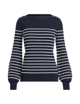 Striped Cotton Blend Sweater by Ralph Lauren