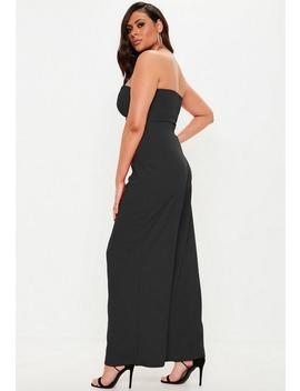 Plus Size Black V Bar Bandeau Wide Leg Jumpsuit by Missguided
