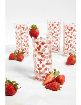 Set Of 4 Strawberry Print Glasses by Urban Outfitters