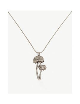 Silver Toned Palm Tree Pendant Necklace by Saint Laurent