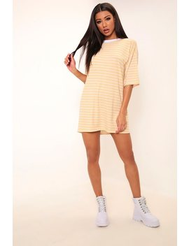 Beige Striped Oversized T Shirt Dress by I Saw It First