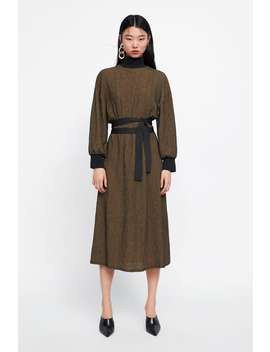 Combined Structured Dress  Midi Dresses Woman by Zara