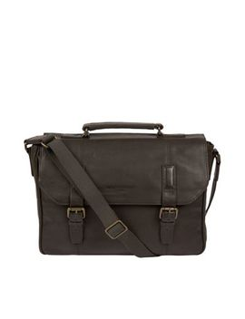 Pure Luxuries London   Ash Black 'idris' Leather Briefcase by Pure Luxuries London