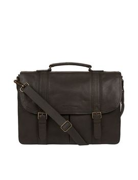 Pure Luxuries London   Ash Black 'logan' Leather Briefcase by Pure Luxuries London