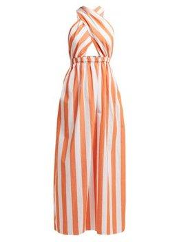 Rosario Striped Cotton Halterneck Dress by Mara Hoffman