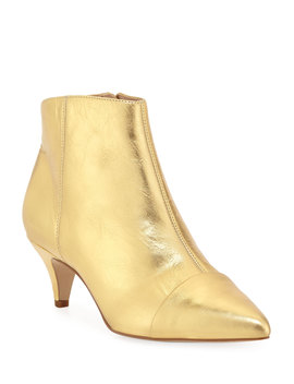 Kinzey Metallic Leather Kitten Heel Booties by Sam Edelman