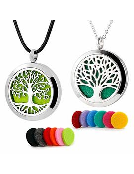 Roy Aroma 2 Pcs Tree Of Life Aromatherapy Essential Oil Diffuser Necklace Stainless Steel Locket Pendant 12 Felt Pads by Roy Aroma