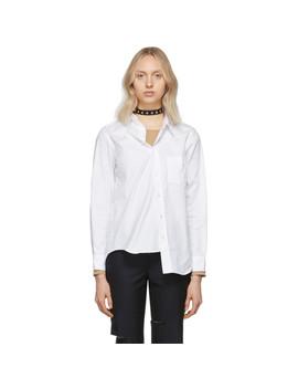 White Oxford Asymmetrical Shirt by Junya Watanabe