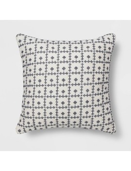 Embroidered Grid Square Throw Pillow Blue   Threshold™ by Shop This Collection