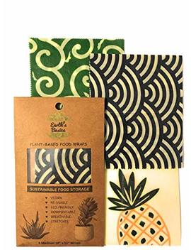 Reusable Organic Food Wraps, Assorted Design 3 Pack By Earth's Basics   Plant Based Food Wraps, Vegan, Non Toxic, Eco Friendly   3 Medium Wraps by Earth's Basics