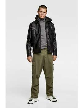 Faux Leather Jacket With Hood  Faux Leather Jackets Man by Zara