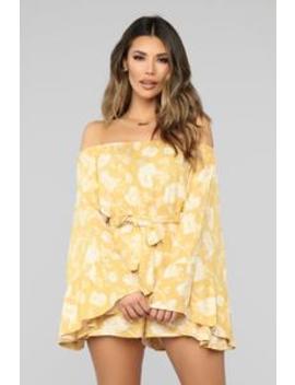 Acacia Floral Romper   Yellow by Fashion Nova