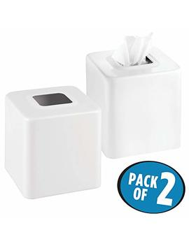 M Design Modern Square Metal Paper Facial Tissue Box Cover Holder For Bathroom Vanity Countertops, Bedroom Dressers, Night Stands, Desks And Tables   2 Pack   White by M Design