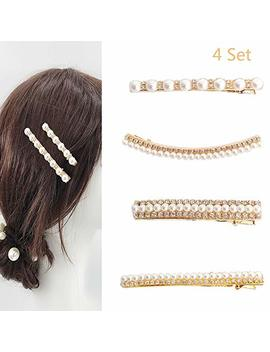Jurxy Vintage Faux Pearl Hair Clip Metal Alloy Straight Side Hair Barrettes Club Party Hairpins For Bridal Wedding Decoration – 4 Pcs by Jurxy