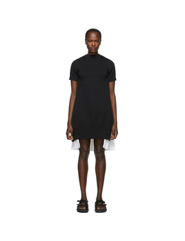 Black & White Knit Shirting Dress by Sacai