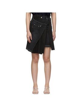 Black Velvet Denim X Uncut Skirt by Sacai
