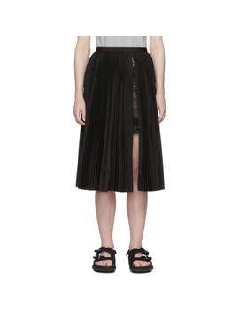 Black Pleated Poplin Skirt by Sacai