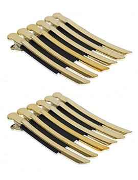 Akoak 12 Pcs/Pack Professional Hairdressing Salon Hair Styling Stainless Steel Hairdressing Duck Bill Alligator Clips Fashion Styling Tools(Gold) by Akoak