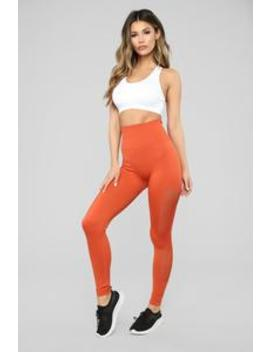 Roxanna Premium Active Legging   Rust by Fashion Nova