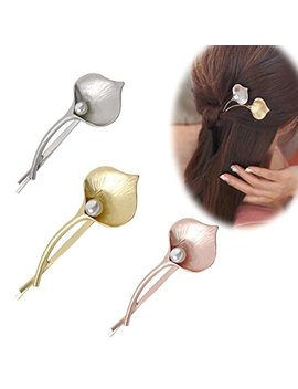 Set Of 3 Vintage Calla Lily Alloy Pearl Hair Clips Pins Hair Accessories   Beautiful Flowers Side Clamp Liu Hai Hairpin Headwear For Women And Girls by Numblartd