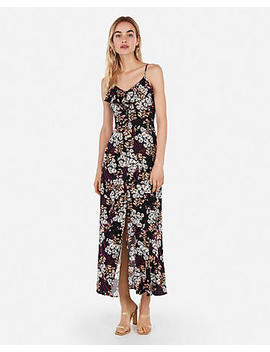Mixed Floral Button Front Ruffle Maxi Dress by Express